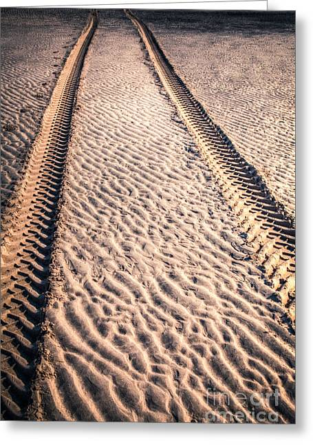 Tyre Greeting Cards - Tracks in the Sand Greeting Card by Adrian Evans