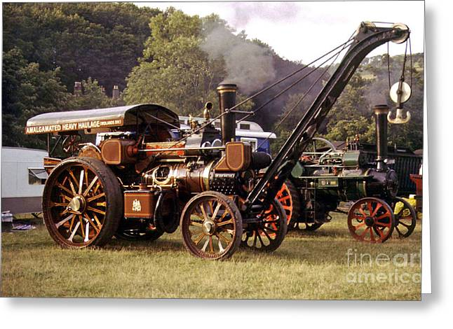 Davit Greeting Cards - Traction engine with crane Greeting Card by Rod Jones