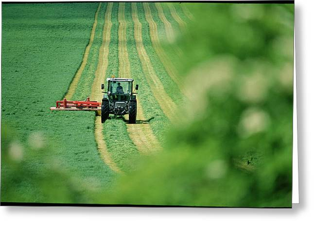 Tractor Cutting Grass Greeting Card by Jeremy Walker