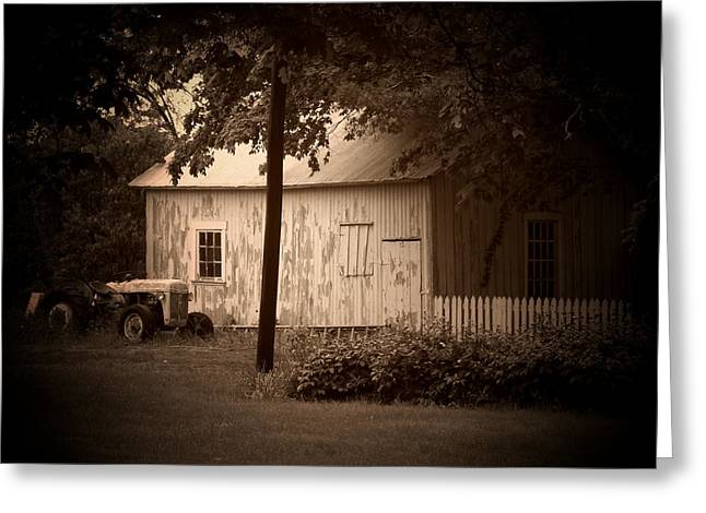 Indiana Farms Greeting Cards - Tractor Picket Fence Greeting Card by Michael L Kimble