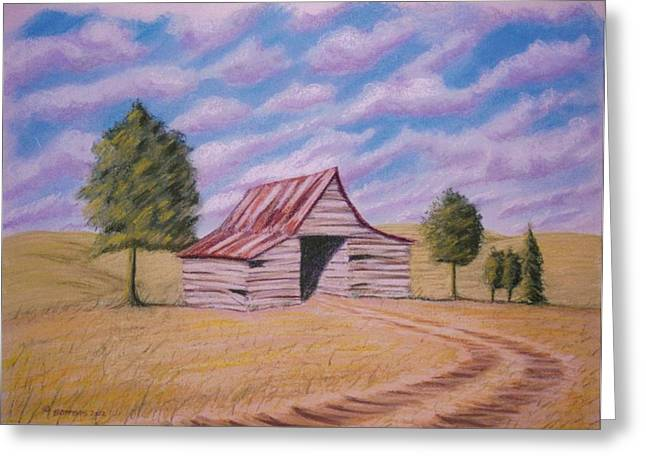 Photo-realism Pastels Greeting Cards - Tractor Shed Greeting Card by Stacy C Bottoms