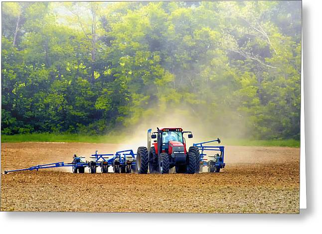 New Melle Greeting Cards - Tractor Work Greeting Card by Bill Tiepelman