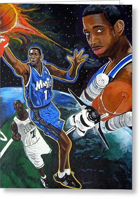 Shaq Greeting Cards - Tracy McGrady Greeting Card by Jeff Gomez