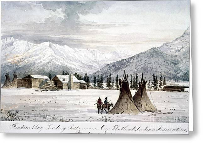 Log Cabins Greeting Cards - TRADING OUTPOST, c1860 Greeting Card by Granger