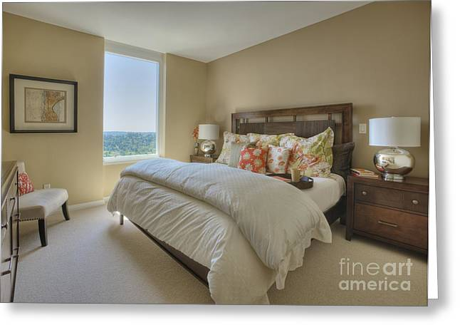 Angled Windows Greeting Cards - Traditional Bedroom Interior Greeting Card by Andersen Ross