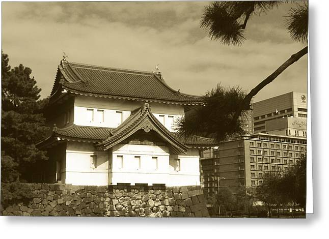 Tokyo Greeting Cards - Traditional Building in Tokyo Greeting Card by Naxart Studio