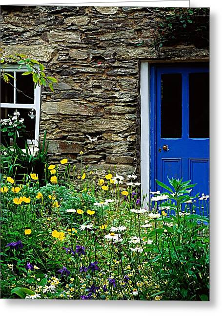 Statuary Garden Greeting Cards - Traditional Cottage, Co Cork Greeting Card by The Irish Image Collection