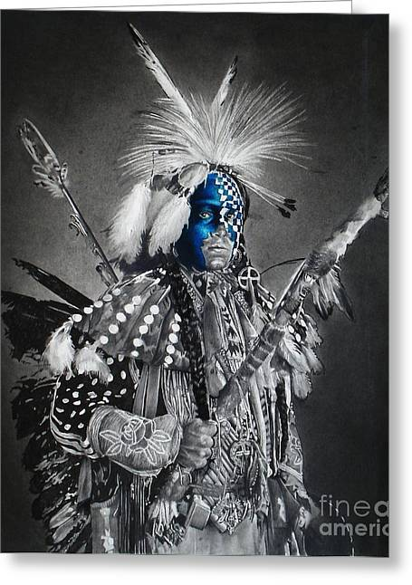Fancy-dancer Greeting Cards - traditional dancer Blue Greeting Card by Raoul Alburg