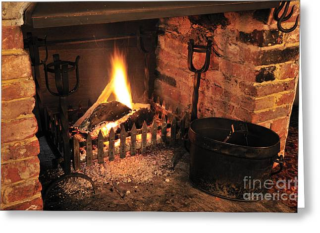 Lights Photographs Greeting Cards - Traditional English Pub Fireplace Greeting Card by Andy Smy
