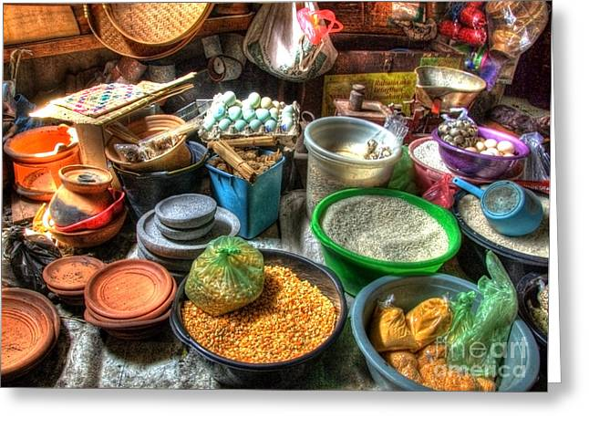 Basket Pot Greeting Cards - Traditional Grocery Shop Greeting Card by Charuhas Images