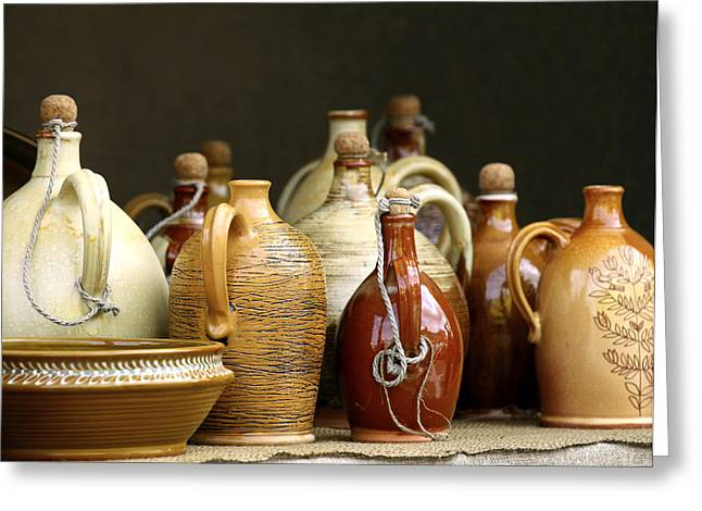 Best Sellers -  - Pottery Pitcher Greeting Cards - Traditional jugs Greeting Card by Vaidas Bucys
