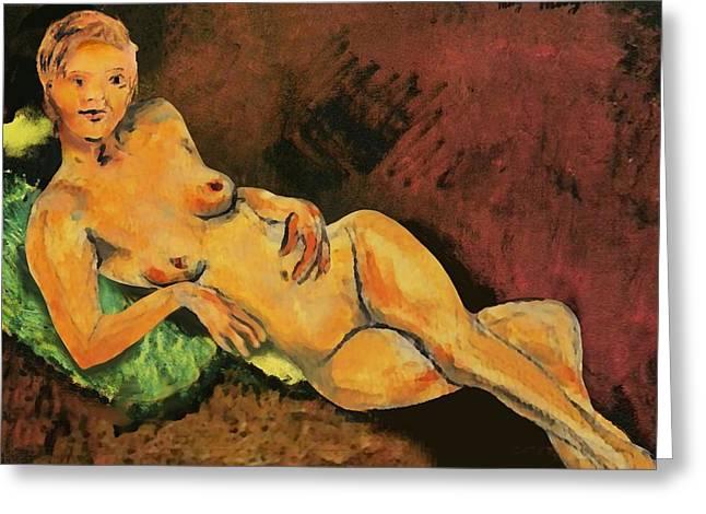 Modigliani Digital Art Greeting Cards - Traditional Modern Female Nude Reclining Greeting Card by G Linsenmayer