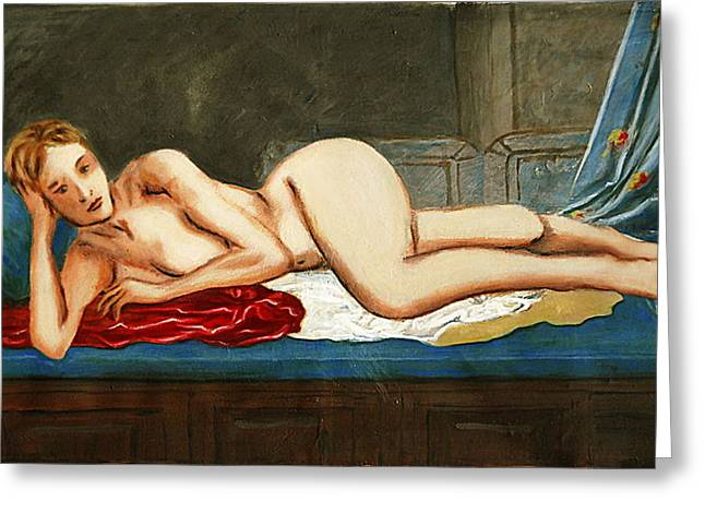 Odalisque Digital Art Greeting Cards - Traditional Modern Female Nude Reclining Odalisque After Ingres Greeting Card by G Linsenmayer
