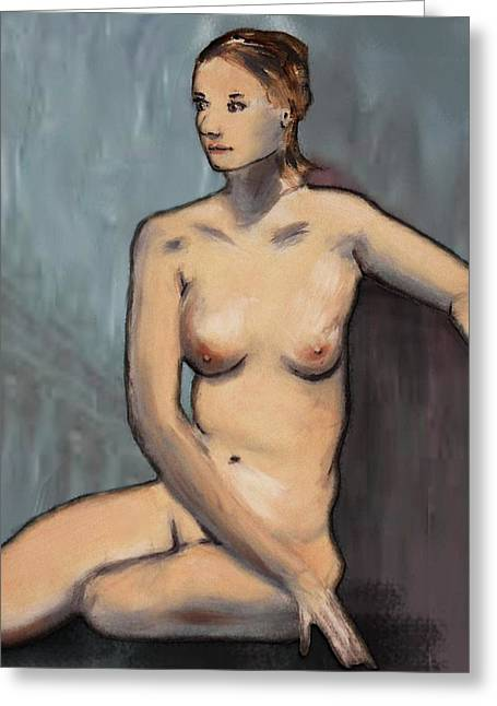 Modigliani Digital Art Greeting Cards - Traditional Modern Female Nude Seated Greeting Card by G Linsenmayer