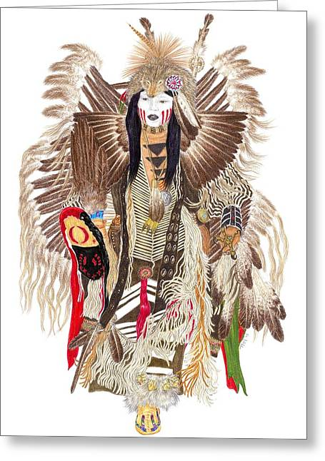 Traditional Pow-wow Dancer 1 Greeting Card by Tim McCarthy