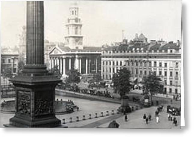 Trafalgar Greeting Cards - Trafalgar Square - London England - c 1908 Greeting Card by International  Images