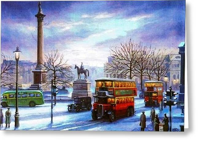Streetscenes Paintings Greeting Cards - Trafalgar Square 1938 Greeting Card by Mike  Jeffries