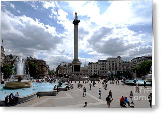Trafalgar Square Greeting Card by Pravine Chester