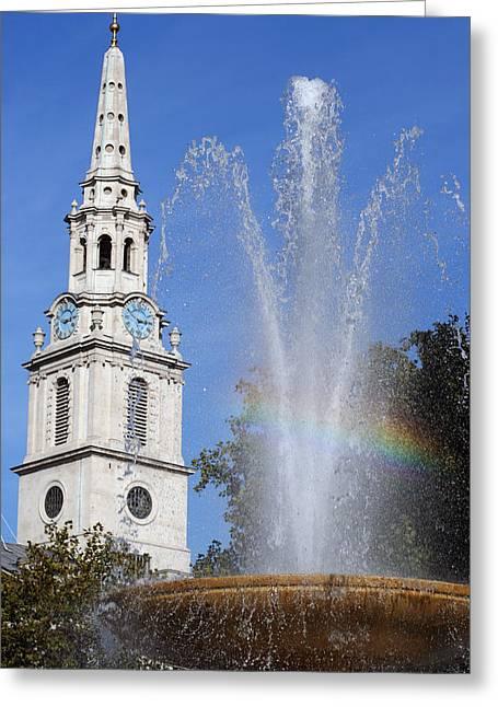 Trafalgar Greeting Cards - Trafalgar Square Rainbow Vertical Greeting Card by Heidi Hermes
