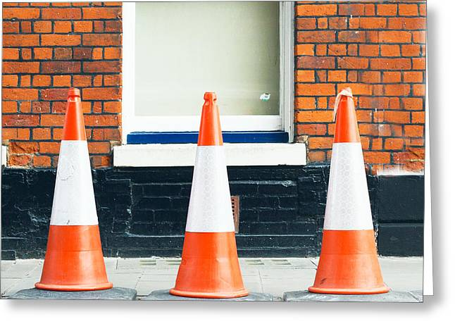 Obstacles Greeting Cards - Traffic cones Greeting Card by Tom Gowanlock