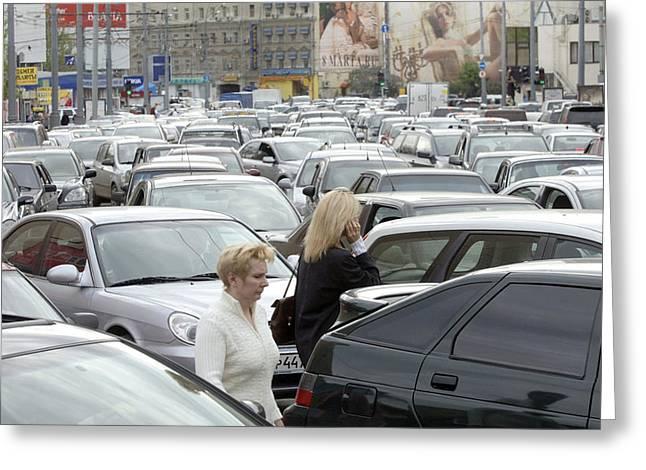 Traffic Jam Greeting Cards - Traffic Jam, Moscow Greeting Card by Ria Novosti
