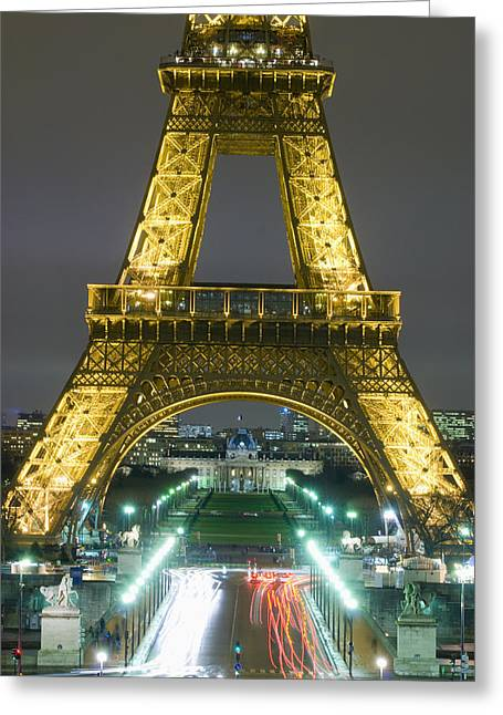 Elysian Greeting Cards - Traffic On Champs Delysees Under Eiffel Greeting Card by Axiom Photographic