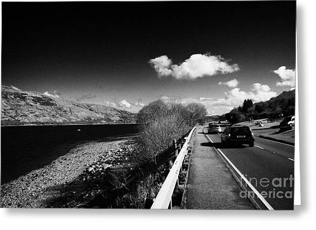 Low Road Greeting Cards - Traffic On The Main A82 Tourist Route Road Along The Shores Of Loch Linnhe Near Fort William Highlan Greeting Card by Joe Fox