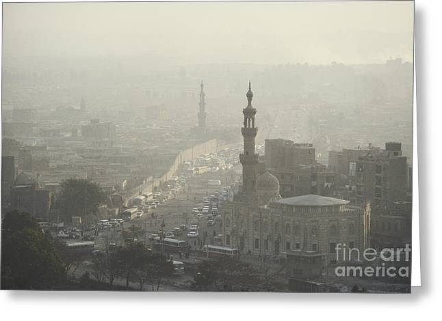 Traffic Jam Greeting Cards - Traffic Pollution, Cairo, Egypt Greeting Card by Bernard Wolff