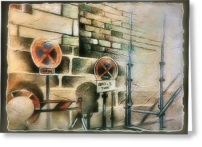 Brick Wall Pastels Greeting Cards - Traffic Signs in Dusseldorf 1982 Greeting Card by Glenn Bautista