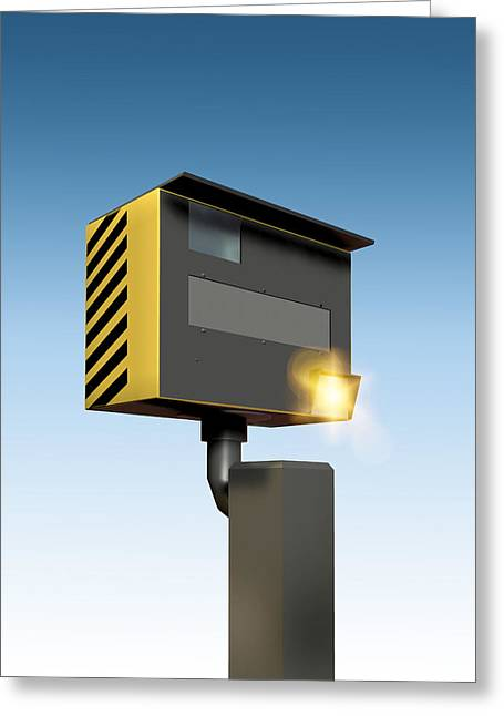 Police Traffic Control Photographs Greeting Cards - Traffic Speed Camera Greeting Card by Victor Habbick Visions