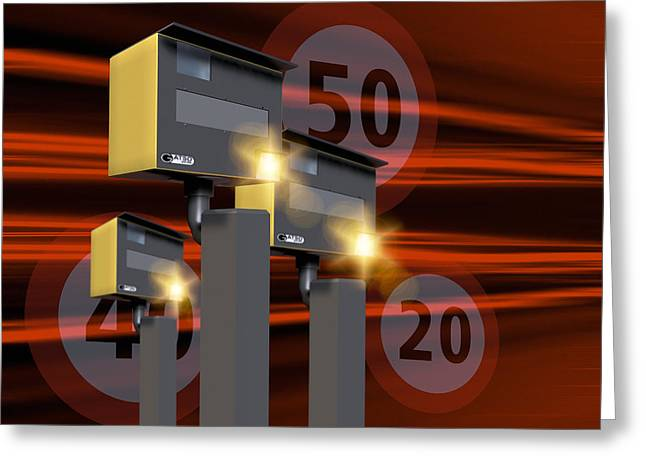 Traffic Speed Cameras Greeting Card by Victor Habbick Visions