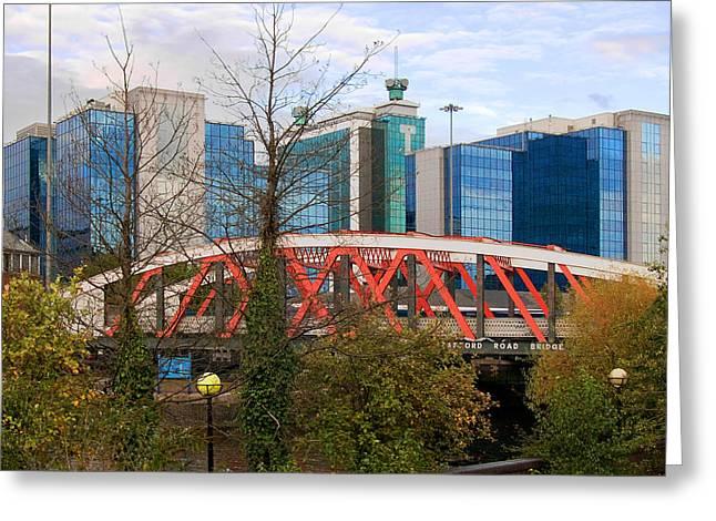 Trafford Road Bridge Greeting Card by Barry Hayton