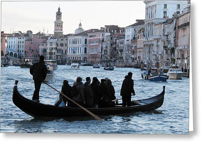 European Pyrography Greeting Cards - Traghetto . Gran Canal. Venice Greeting Card by Bernard Jaubert