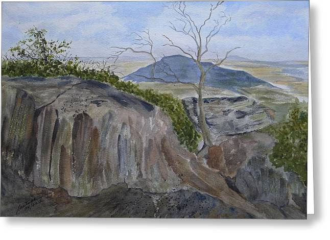 Gaston County Paintings Greeting Cards - Trails End - rocks trees and sky Greeting Card by Joel Deutsch