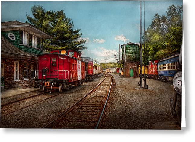 Train Yard Greeting Cards - Train - Caboose - Tickets Please Greeting Card by Mike Savad