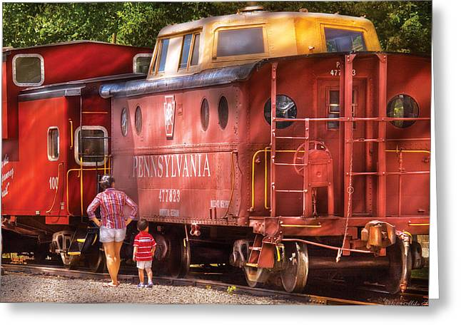 Caboose Greeting Cards - Train - Car - Pennsylvania Northern Region Caboose 477823 Greeting Card by Mike Savad