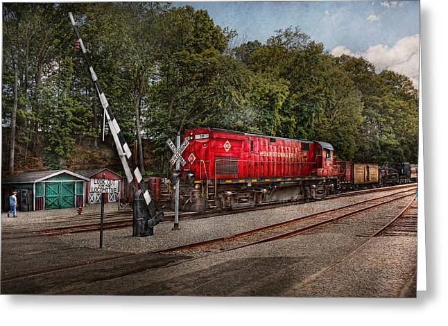 Train Yard Greeting Cards - Train - Diesel - Look out for the Locomotive  Greeting Card by Mike Savad
