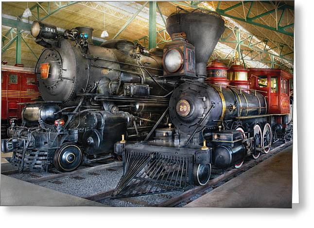 Express Greeting Cards - Train - Engine - Steam Locomotives Greeting Card by Mike Savad