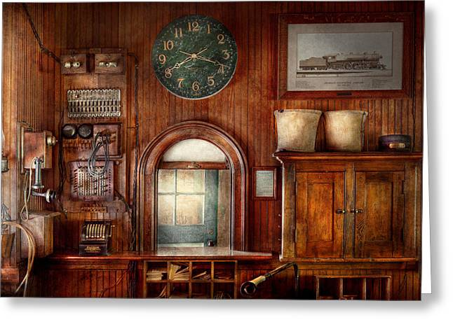 Olde Greeting Cards - Train - Office - The ticket takers window Greeting Card by Mike Savad