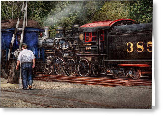 Train Crossing Greeting Cards - Train - Steam - The conductors job  Greeting Card by Mike Savad