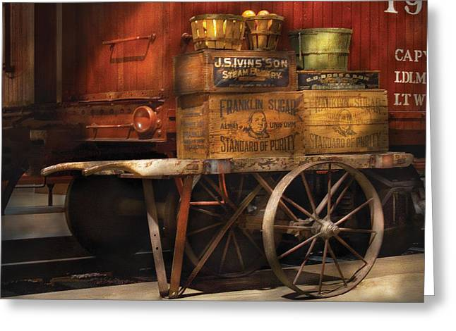 Yard Sale Greeting Cards - Train - Yard  - Got an order of Fruit  Greeting Card by Mike Savad