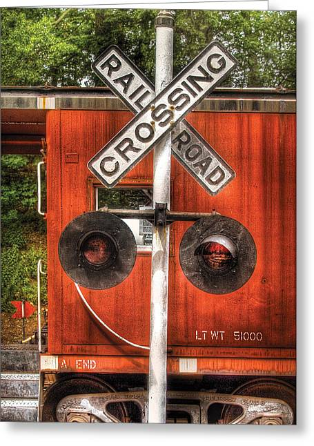 Caboose Greeting Cards - Train - Yard - Railroad Crossing Greeting Card by Mike Savad
