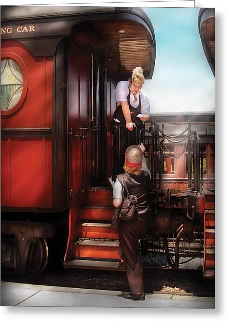 Postal Greeting Cards - Train - Yard - Receiving a Telegram  Greeting Card by Mike Savad