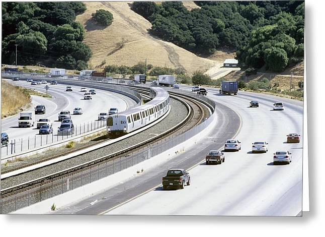 American Automobiles Greeting Cards - Train And Motorway, California, Usa Greeting Card by Martin Bond