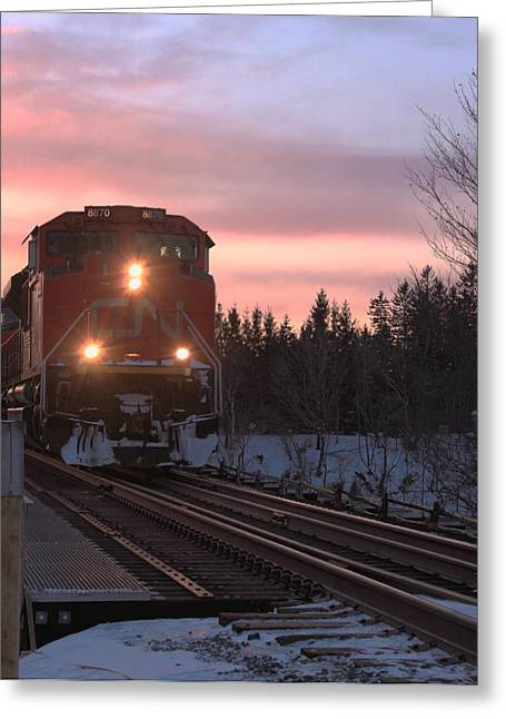 Train Greeting Cards - Train Arrival Greeting Card by Jordan Drapeau