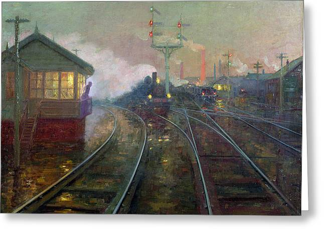 Trains Paintings Greeting Cards - Train at Night Greeting Card by Lionel Walden