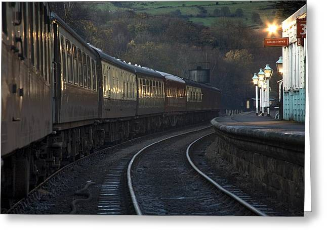 Twinkle Greeting Cards - Train At Station At Dusk, Pickering Greeting Card by John Short