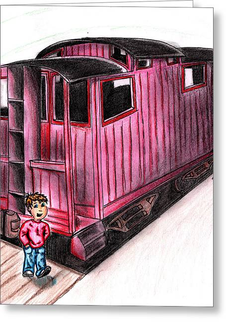 Caboose Drawings Greeting Cards - Train child caboose Greeting Card by Scott Smith