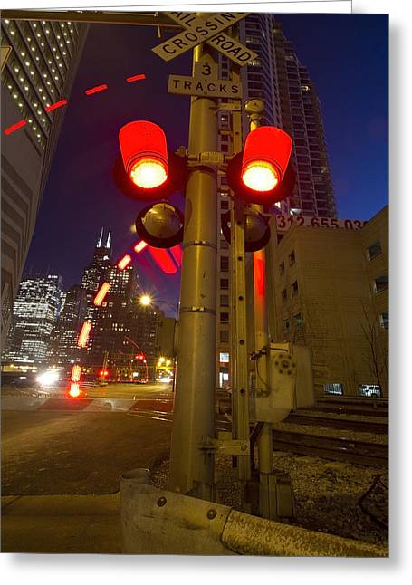 Train Crossing Greeting Cards - Train crossing lights at dusk Greeting Card by Sven Brogren