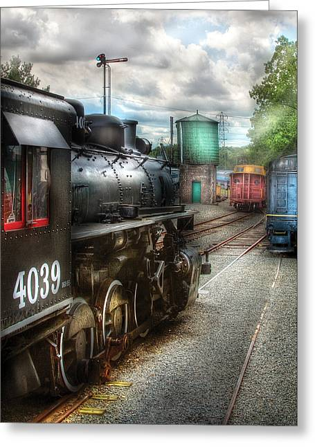 Train Yard Greeting Cards - Train - Engine - 4039 - In the train yard  Greeting Card by Mike Savad